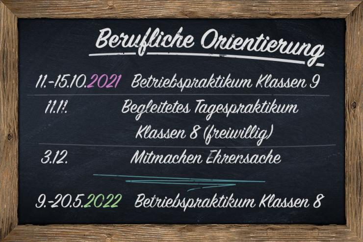 Schwarzes Brett der Beruflichen Orientierung an der Erich-Kästner-Schule Laichingen